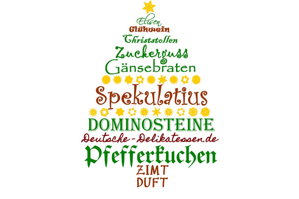 Weihnachtsbaum mit deutschen Spezialitäten