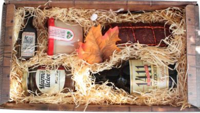Geschenk mit Wurst, Bier, Biermarmelade